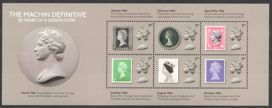 MS3964 2017 Machin Definitive 50 Years Non-Barcoded Miniature Sheet